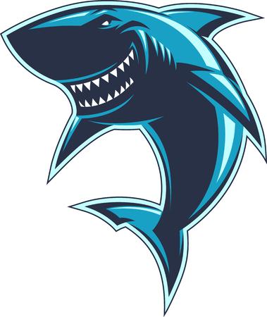 shark cartoon: Tiburones profesionales modernos para un equipo de club o deporte
