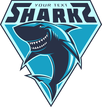 banni�re football: Moderne logo des requins professionnels pour une �quipe de club ou de sport Illustration