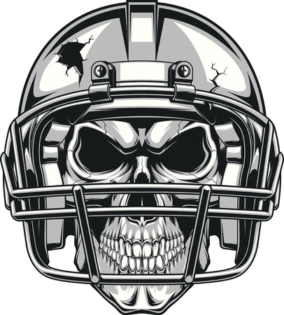 Human skull wearing a helmet to play football, vector illustration