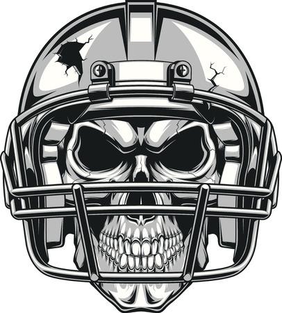 Menschlicher Schädel trägt einen Helm, Fußball zu spielen, Vektor-Illustration