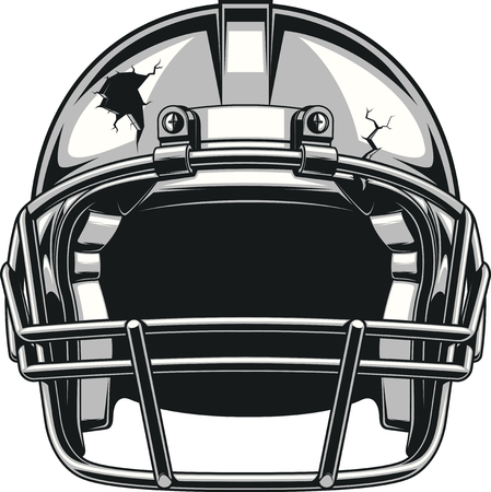 football helmet: Helmet for playing American football, vector illustration
