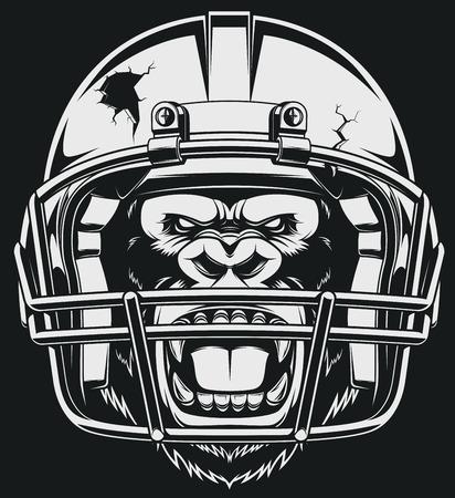 The fierce gorilla in the American football helmet