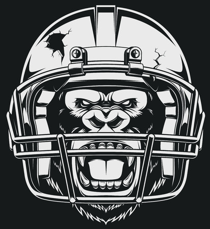 football player: The fierce gorilla in the American football helmet