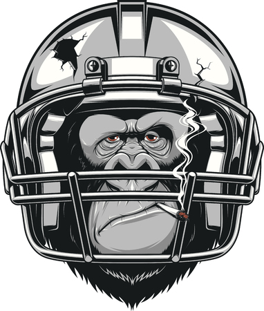 smoking a cigarette: Vector illustration, funny gorilla American football player wearing a helmet and smoking a cigarette