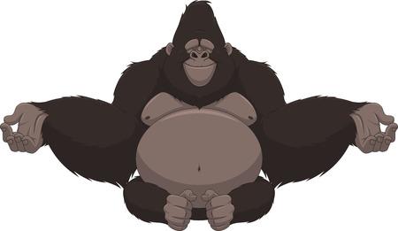 chimpances: Ilustración vectorial de gorila divertido sentado meditando