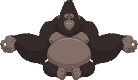 Vector illustration of funny gorilla sitting meditating