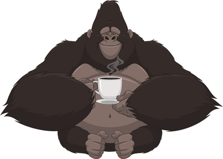 Vector illustration, funny gorilla with a mug of coffee