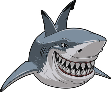 monster face: Vector illustration, toothy smiling white shark swims