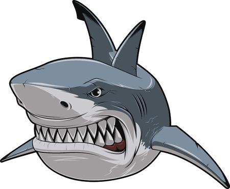 shark cartoon: Ilustración del vector, con dientes tiburón nada blanco sonriente