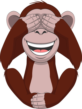 adherence: Vector illustration, funny little monkey sitting with eyes closed Illustration