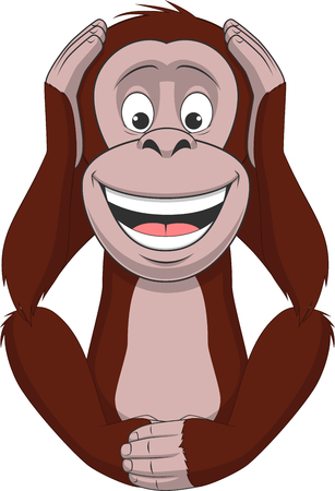 giggling: Vector illustration, funny little monkey sits and closes his ears
