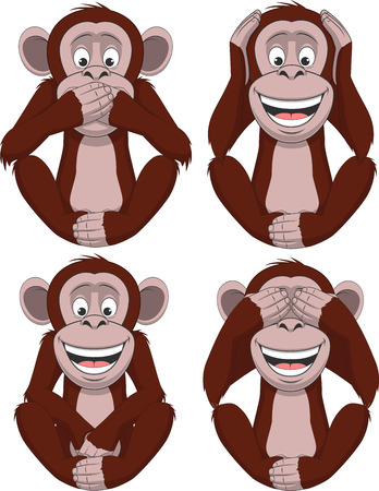giggling: Vector illustration, a set of four funny monkey.