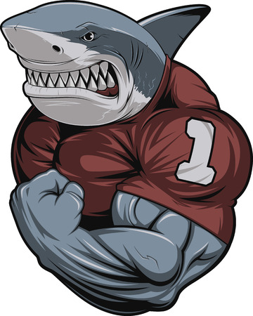 Vector illustration, toothy shark shows great biceps Çizim