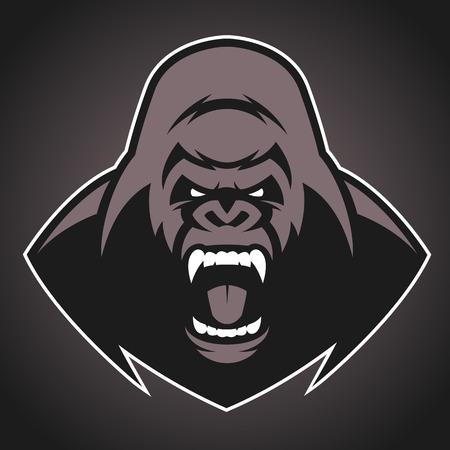 gorila: Ilustraci�n del vector, la cabeza del mal gorila feroz grita, mascota