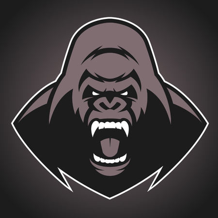 Vector illustration, head evil ferocious gorilla shouts, mascot Иллюстрация
