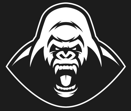 Vector illustration, head evil ferocious gorilla shouts, mascot Çizim