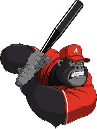 Vector illustration, funny gorilla with a baseball bat Illustration