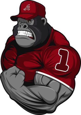 gorila: Ilustración del vector, horrible gorila atleta profesional, sobre un fondo blanco