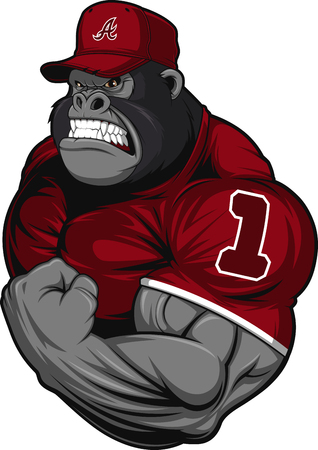baseball cartoon: Vector illustration, terrible gorilla professional athlete, on a white background Illustration