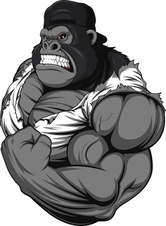 Illustrazione di vettore, terribile gorilla atleta professionista, su uno sfondo bianco Archivio Fotografico - 48148188