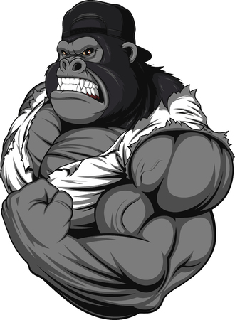 Vector illustration, terrible gorilla professional athlete, on a white background Çizim