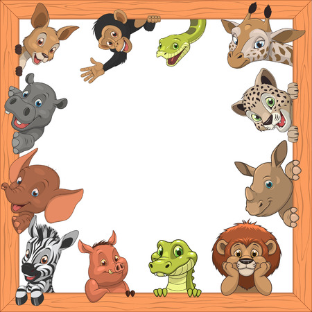 Vector illustration set of funny exotic animals in frame