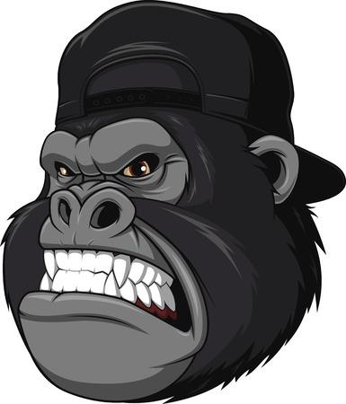 rey caricatura: Ilustración vectorial, gorila feroz con una gorra, sobre un fondo blanco