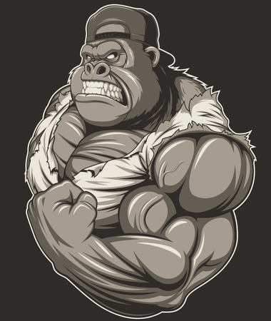 Vector illustration, terrible gorilla professional athlete, on a white background Иллюстрация