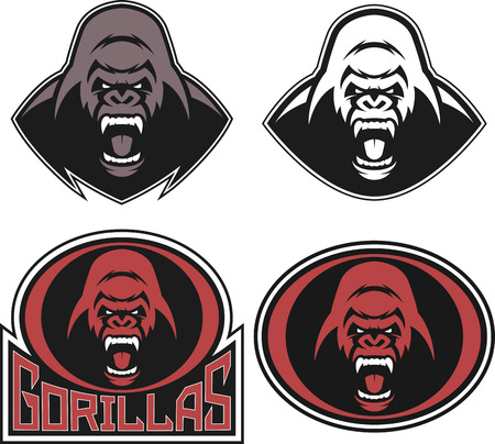 angry animal: Vector illustration, set head evil ferocious gorilla shouts, mascot Stock Photo