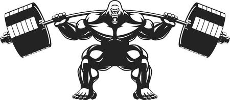 en cuclillas: Ilustración vectorial de un gorila enojado con una barra