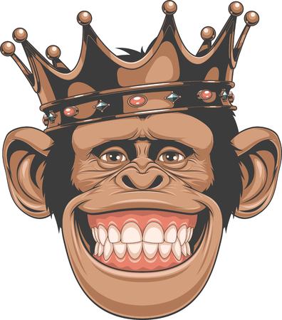 divertido: Ilustración del vector, chimpancés divertidos en la corona