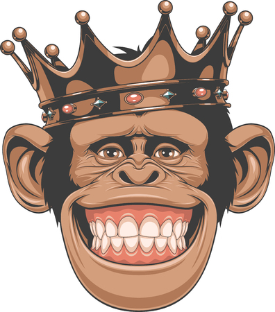 crown: Vector illustration, funny chimpanzees in the crown