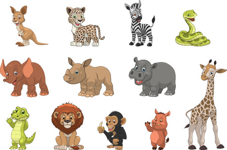 animals in the zoo: Ilustraci�n vectorial conjunto de animales ex�ticos divertidos