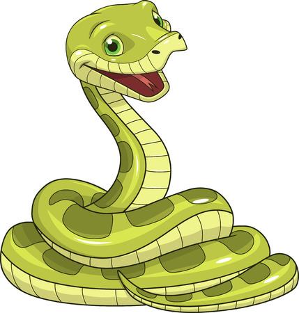 selva caricatura: ilustración de serpiente verde sobre un fondo blanco