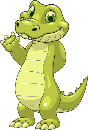 caiman: Vector illustration cute funny crocodile on a white background Illustration