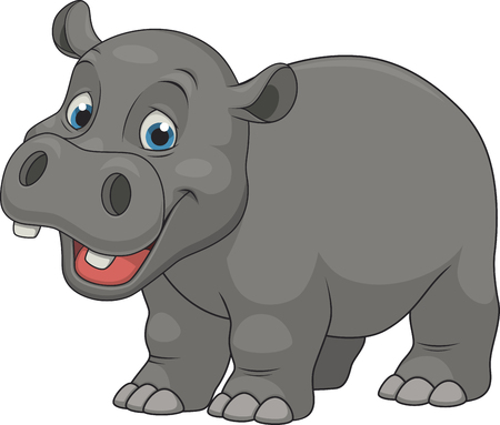 Vector illustration, cute smiling hippo on white background Ilustração