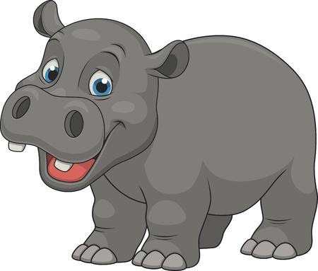 Vector illustration, cute smiling hippo on white background Illustration
