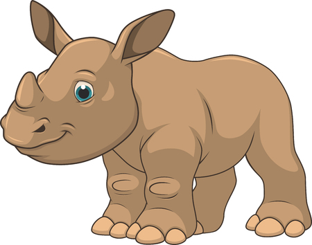 suckling: Vector illustration, rhino baby, on a white background