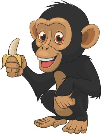 Vector illustration, funny chimpanzee on a white background, cartoon Çizim