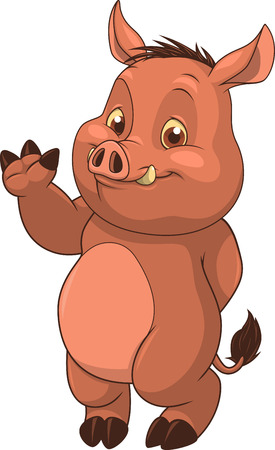 Vector illustration, cute little hog, on a white background