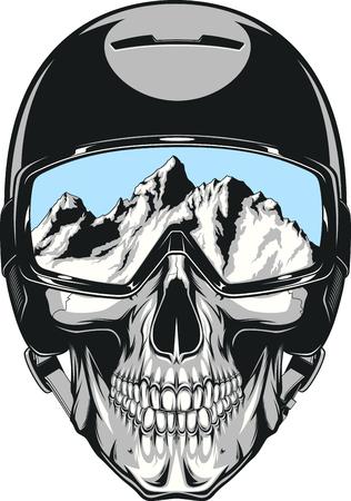 muerte: Ilustración vectorial de un cráneo humano en un snowboarder casco