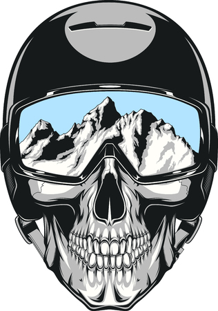 sports helmet: Vector illustration of a human skull in a helmet snowboarder