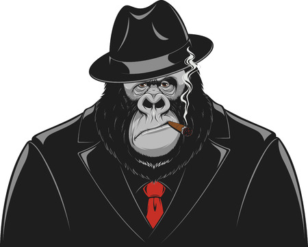 Vector illustration, formidable gorilla gangster in a suit smoking a cigar