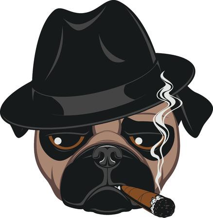 Ritratto di Pug-cane con il sigaro, Tirante freddo, Gangster sguardo