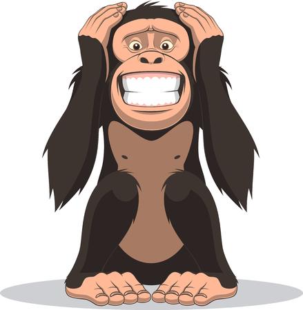 ベクトル図、愉快な猿に座って、手で腹を閉じます 写真素材 - 50094256