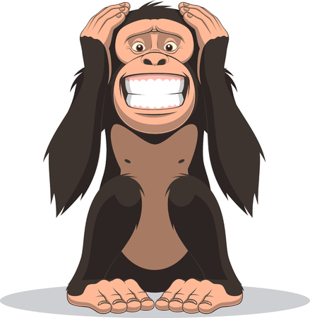 Vector illustration, funny little monkey sits and closes the belly with hands