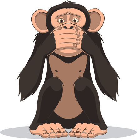 Vector illustration, funny little monkey sits and closes his mouth