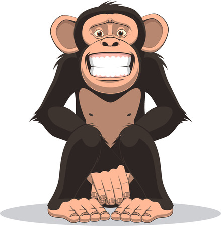 varmint: Vector illustration, funny little monkey sits and closes the belly with hands