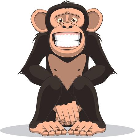Vektor-Illustration, lustige kleine Affe sitzt und schließt den Bauch mit den Händen