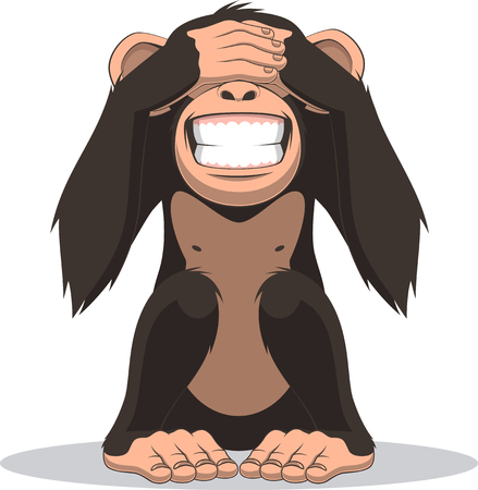 divertido: Ilustración del vector, divertido pequeño mono sentado con los ojos cerrados Vectores